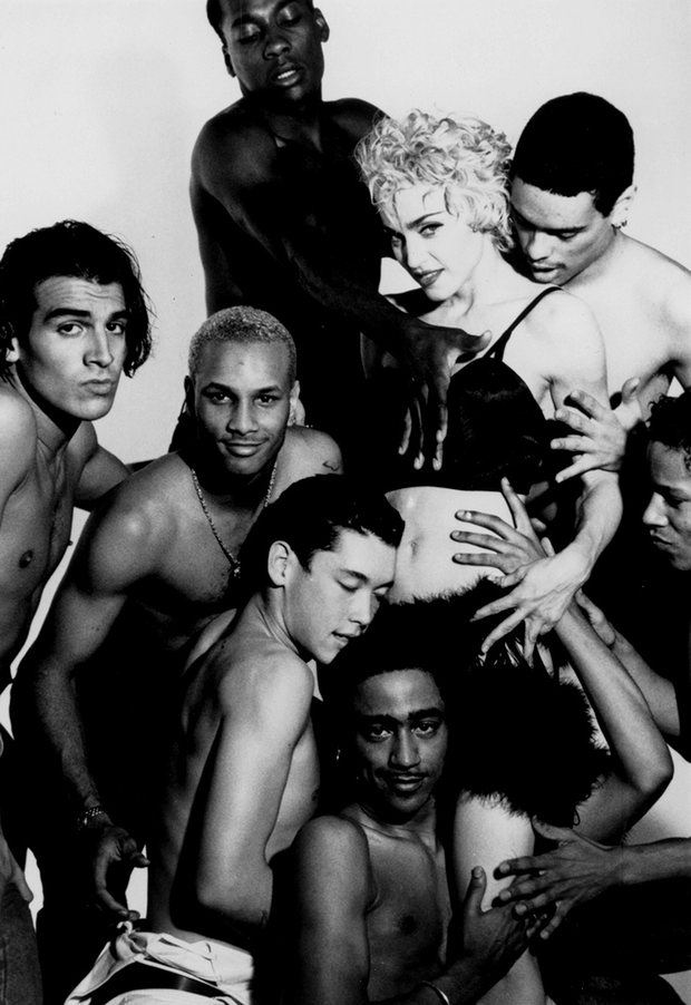 Madonna and dancers from her blonde ambition tour