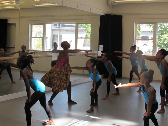 Dwana Smallwood teaching class at her school. Photo Nadine Matthews